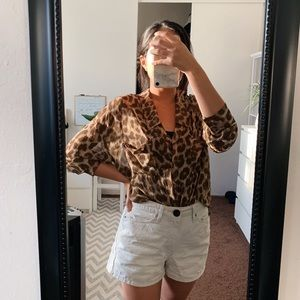 Freepeople leopard/cheetah print button up